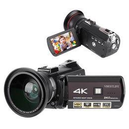 2019 lentes de capuz Câmera Digital AC3-IPS 4K WiFi UHD 30X Zoom 3.1 '' Câmera de Vídeo DV com Tela Táctil com microfone grande angular lentes de capuz barato