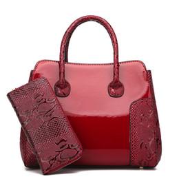 9d493904720d9 2019 handtaschen set geldbörse 2 Teile   satz Luxus Lackleder Frauen  Handtasche Hochwertige Damen Composite-
