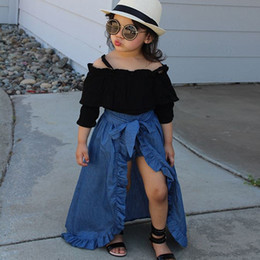 top boats Promo Codes - New Baby Girls Three Pieces Suits Sling Top + Denim Skirt + PP Shorts Kids Outfits Clothing Set Halloween Girls Boutique Fall Clothing