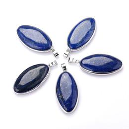 Lapis lazuli gem on-line-Genuine Natural Lapis Lazuli Gotas De Água Bead Gem Pingente De Pedra Azul Lapis Lazuli Cura Radical Reiki Encantos Jóias