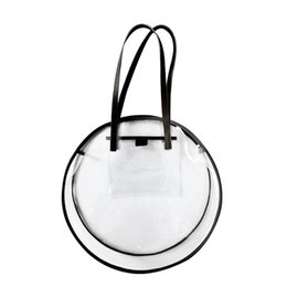 large waterproof beach tote bag Promo Codes - Transparent Plastic Handbags For Girls Summer Beach Round Clear Bag Large Women Shoulder Bag Waterproof Shopping Bags