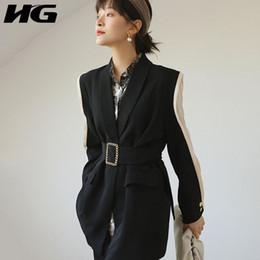 2019 mulheres da forma cintura fina HG Preto Splice Suit Mulheres Autumn New Coat cinto Magro era magro elegante Top Moda feminina Roupa 2019 Coats ZYQ1709 mulheres da forma cintura fina barato