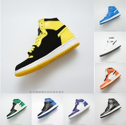 2019 ring basketball 1 OG Chaussures de basketball Hommes Chicago 1S 6 anneaux Baskets Bred Toe Baskets FEMME MID New Love UNC Chaussures de Sport Chaussures de créateurs bannies ring basketball pas cher