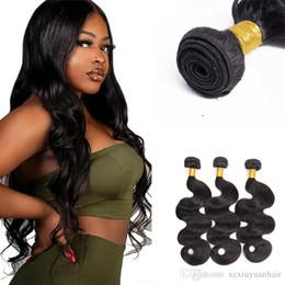 2019 pacotes de cabelo virgem livre Xiuyuan Cutícula Alinhada Raw Indiano Virgem Extensões de Cabelo Humano Onda Do Corpo Remy Feixes de Cabelo Humano Para As Mulheres Negras Frete Grátis pacotes de cabelo virgem livre barato