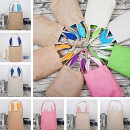 Canada Nouveau sac de cadeau de Pâques oreille de lapin sacs à bandoulière oreille de lapin toile de jute fourre-tout coton sac parti fournitures T8D009 Offre