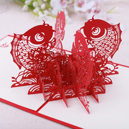 Cartão de dobramento novo on-line-15x15 cm Caráteres Chineses Escavado Gratidão 3D Cartão Vermelho Presente Porco Festival Da Primavera Dos Peixes Dobráveis Novo Ano Up
