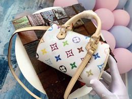 ZapatillaslvTricolor blanco Mini Speedy HL Nano Hombro mini speedy messenger bags monogrram Bolsos de lona de piel de vaca Commuter 89c6 # desde fabricantes