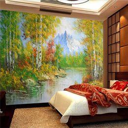 Paysage vert peinture à l'huile en Ligne-Paysage Peinture À L'huile 3D Photo Fonds D'écran pour Murs 3D Vert Or Blanc Bouleau Forêt Creek Murale Papiers Décoration Intérieure