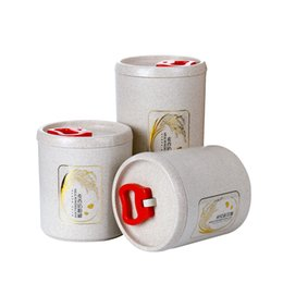 Venda quente OOU Trigo Fiber Seal Jars Grãos Caixas De Armazenamento Spice Jar Latas De Armazenamento De Cozinha De Armazenamento De Cozinha Organização de Fornecedores de cozinha quente