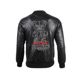 2020 casacos de pele punk 2019 New Men Moda casaco de cabedal Casacos de inverno Punk Estilo PU Jacket Brasão do emblema bordado Carta lapela pescoço Lederjacke Plus Size M-3XL casacos de pele punk barato