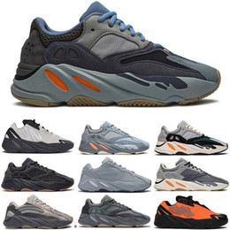 Sapata do esporte yeezy on-line-Teal Blue Carbono ímã Tephra Adidas YEEZY BOOST 700 V2 Runner Meninas Osso Mens Running Shoes Vanta estática Sal Analog Geode malva Inércia Sports Sneakers 28-46