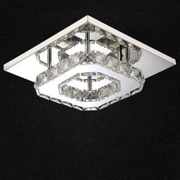 2019 kristall-kronleuchter 12 arm Moderne LED Deckenleuchte Quadrat Kristall Deckenleuchten Edelstahl Luminaria 5730 Led Lampen Für Home Schlafzimmer Flur Lampen