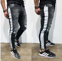 pantalones jeans hombre Coupons - Jeans hombre Men Pantalones Ripped Jeans Black Side Striped Draped Biker Jean Pencil Pants