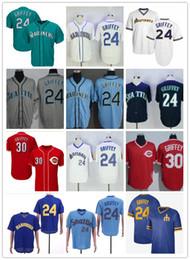 Grüne ken online-Männer Seattle Mariners Vintage-Ken Griffey Jr. Jr. Jersey Teal Grün Reds 30 Griffey Jr. Cincinnati Baseball-Shirts