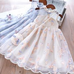 Filles colorées broderie florale princesse robe enfants s'incline cheongsam col veste robe enfants robe de soirée + stéréo fleur sac 2pcs ensembles F5672 ? partir de fabricateur