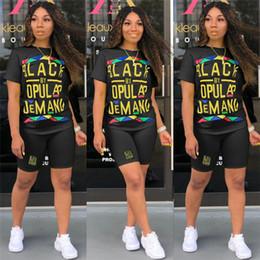 2019 corti pantaloni neri Nero Smart Women Designer Tuta Marchio T-shirt + Pantaloncini Due pezzi Abiti Estate Luxury Body Pagliaccetto Sportswear Streetwears C62502 sconti corti pantaloni neri
