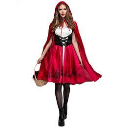 Американская атлетика онлайн-Европейский и американский Рождество Хэллоуин Красная Шапочка костюм косплей платье партии Красная Шапочка ночной клуб Королева платье
