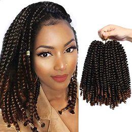 2019 empacar trenzas retorcidas 3 paquetes de 8 pulgadas Spring Twist Hair Extension Crochet Trenzas Sintético Twist Hair Jumbo Twist Trenzado de cabello empacar trenzas retorcidas baratos