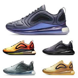 2019 air noir de carbone nike air max 720 Nouvelle arrivée chaussures de course pour hommes femmes argent métallisé triple noir CARBON GREY SUNSET respirant mens formateur baskets air noir de carbone pas cher