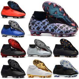 2019 zapatos de fútbol de corte alto Botas de fútbol de tobillo para hombre altas EA Sports Phantom VSN Elite DF Zapatillas de fútbol FG X JD PSG Phantom Vision FG Tacos de fútbol para exteriores