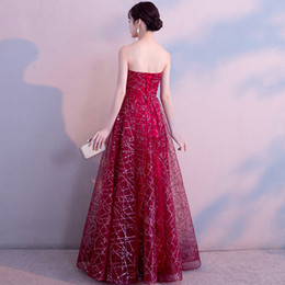 sequin tube Promo Codes - 2019 new red evening dress tube top accessories sequins off shoulder flash formal banquet evening dress