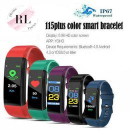 2019 schrittzähler armbänder ID115 PLUS Farbe Smart-Armband-Schirm-Armband Sport-Pedometer-Uhr Fitness Laufen Tracker Herzfrequenz-Pedometer Smart-Armbänder günstig schrittzähler armbänder
