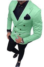 Smoking doppio petto smoking abiti da sposa uomo abiti da sposa uomo smoking costumi de smoking pour hommes uomini (Jacket + Pants + Tie) 023 da