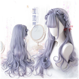 peruca cinza encaracolado Desconto Anime Japan Sweet Lolita Harajuku Purple Grey Mix 70cm Curly Wavy Synthetic Long Cosplay Wig Kawaii Hair + Wig Cap