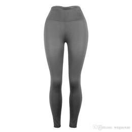 Plus größe legging grau online-2019 hohe taille sport legging solide grau frauen mode neue weibliche workout stretch hose plus größe elastische fitness leggings