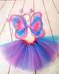 2019 traje de capa púrpura Alas de traje de tela de gasa de mariposa para niños Show de vestuario Traje 2019 Carnaval ala de mariposa Faldas accesorios de rendimiento Cosplay