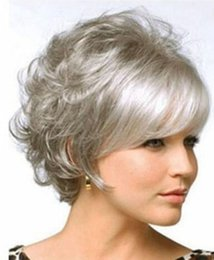 Corti short parrucca ricci online-WIG ZCD NUOVO STILE Liberi le nuove signore di modo brevi parrucche ricce dei capelli del partito misto grigio
