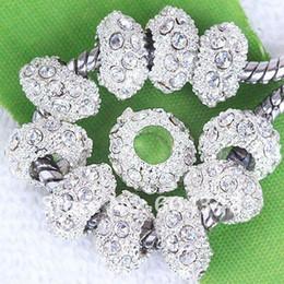 Perlas de plata rondelle online-11 mm de perlas de cristal de diamante de imitación transparentes, espaciadores de Rondelle, metal plateado plateado cristal agujero grande perlas europeas ajuste pulseras-100PCS