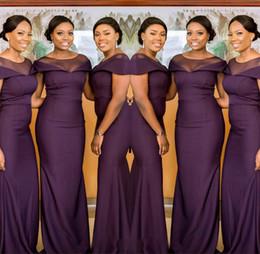 robes de mariée pur et mauve Promotion 2019 Afrique du Sud élégante demoiselle d'honneur pure cou robes violet longue demoiselle d'honneur robe de mariage robe BM0629