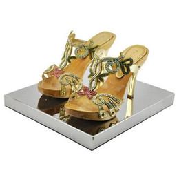 Nouveau En Acier Inoxydable Miroir Range-Chaussures Compteurs De Chaussures Magasin De Chaussures Présentoir Supports Fournitures ? partir de fabricateur