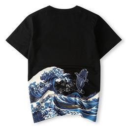 Homens estilo japonês t camisa on-line-Japonês Ukiyoe Estilo Homens Camiseta Impressão Onda Carpa Peixe de Alta Qualidade Verão T-shirt Tops Tees Moda Tee