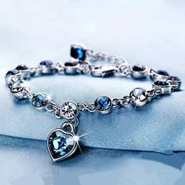 Pulseira de safira azul esterlina on-line-925 Sterling Silver Sapphire Bracelet Para As Mulheres Romântico Em Forma de Coração Azul Jóias Pulseira Feminina Kehribar Bizuteria Pulseira J190707