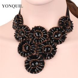 Perle pendent online-Frauen schwarz halskette perlenschmuck falschen kragen populars choker pendent zubehör für schmuck klassische band halsketten SYBC44