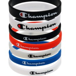 Bracelets pour basketball en Ligne-Champions Lettres Bracelet Silicone Sports Bracelet CHAMPI Designer En Caoutchouc Bracelet Amoureux Cadeau Créatif Garçons Basketball Bracelet B5703