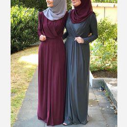 Vestidos casuales turcos online-Dubai Abaya Vestido islámico Moda Mujeres grandes patios Maxi vestido musulmán Elegante Muslimah plisado abaya turco Singapur longitud completa Jilbab Dub