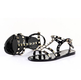 leather sandals women flats Coupons - New 2018 Woman Summer Sandals Rivets big bowknot Flip Flops Beach Sandalias Femininas Flat Jelly Designers Sandals