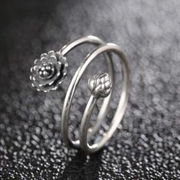 Lotusringe online-Sterling Silber Lotus Open Manschette Ringe für Frauen Mädchen 3D Multi-Layer-Blume Einstellbarer Ring Open Party Schmuck Geschenke
