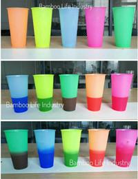 Grandes xícaras de café on-line-Mais popular !! Mudando de cor Copo 5 Cores 700 ML Plásticos Grande Capacidade Reutilizável Copo Frio Xícara De Chá De Café com tampa de Palha