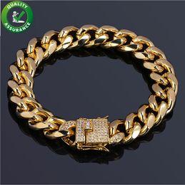 nachahmung pandora schmuck Rabatt Herren Armbänder Hip Hop Schmuck Luxus 18 Karat Vergoldet Designer Armband Kubanischen Kette Diamant Iced Out CZ Armreif Marke Pandora Style Charms