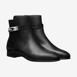 mulheres da forma botas de couro Desconto Alta qualidade semana de moda passarela show das mulheres ankle boots de luxo original camada superior do couro plana com Martin botas de couro high-end botas l