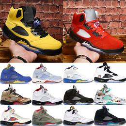 Alas de zapatos de moda online-Nuevo Michigan 2019 Trophy Room University Red Trophy Room Ice Blue 3M reflective 5 5s zapatillas de baloncesto alas oreo zapatillas de deporte para hombre