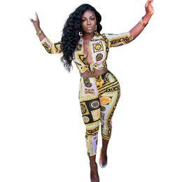 2019 pantalón estampado digital Mujeres 2 unids trajes primavera verano de lujo impresos digitales pantalones lápiz moda de manga larga diseñador chándales rebajas pantalón estampado digital