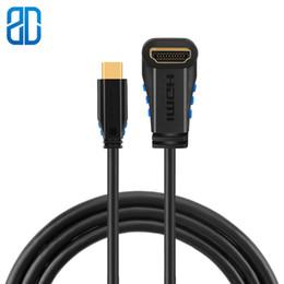 USB-C para HDMI 4K tipo C (compatível com Thunderbolt 3) para HDMI Ângulo reto com cabo de 90 graus para cima / baixo / esquerda / volta de ângulo direito de Fornecedores de usb up angle cable