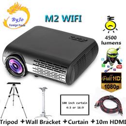 Wifi klammer online-Poner Saund M2 WIFI LED-Projektor 4500 Lumen FULL HD 1080P Android 6.0 Unterstützung HDMI USB VGA AV 100 Zoll Bildschirmstativ Wandhalterung Optional