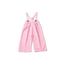 Pantalon ceinture bébé en Ligne-Bébé fille ceinture pantalons enfants bandage pantalon deux camisole bouton Bow ceinture en caoutchouc lâche slider pantalon 32