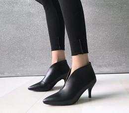 2019 весна зима сексуальные V-Cut черные белые ботинки для женщин тонкие туфли на высоком каблуке туфли на каблуках женские ботильоны размер 33-43 от